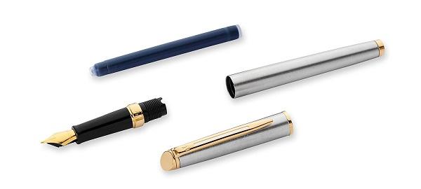 Bộ phận Bút Waterman Hemisphere Essential Gold Trim Stainless Steel - Ngòi M - Mực đen - S0920330
