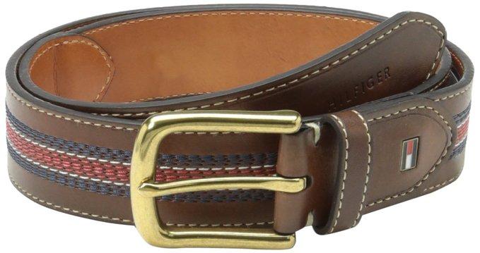 Thắt lưng nam Tommy Hilfiger Men's Casual Belt with Center Stripe-Stitch Detail - Size 34 - 11TL02X057- Chính hãng