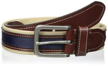 Dây lưng nam Tommy Hilfiger Men's 35mm Canvas and Ribbon Belt - Size 34 - Chính hãng