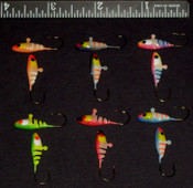 #6 Super Neon Glow w/ Glitter backs Minnow Kit - 12pcs