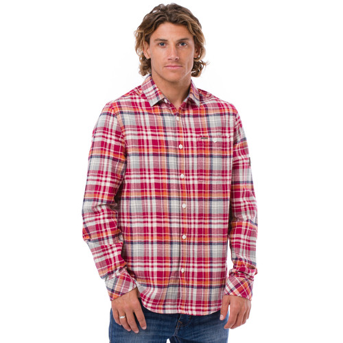 Animal Mens Long Sleeve Shirt Smithers Design in Rio Red. Front view.