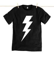 Rapanui Mens T-Shirt Lightning Bolt Design in Black.