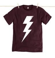 Rapanui Mens T-Shirt Lightning Bolt Design in Purple.