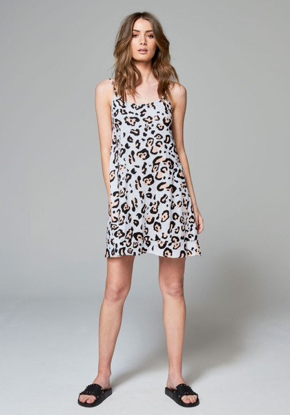 Estee Tier Singlet Dress - Grey Leopard