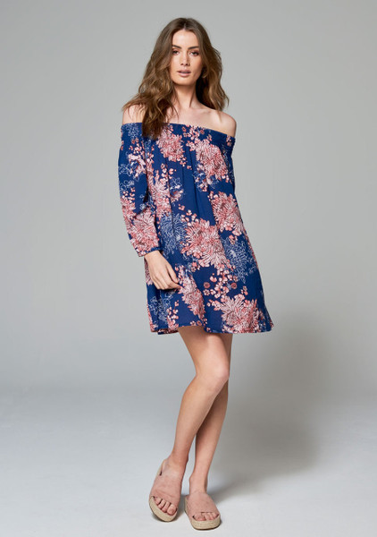 Ellisha Off The Shoulder Dress - Navy Floral