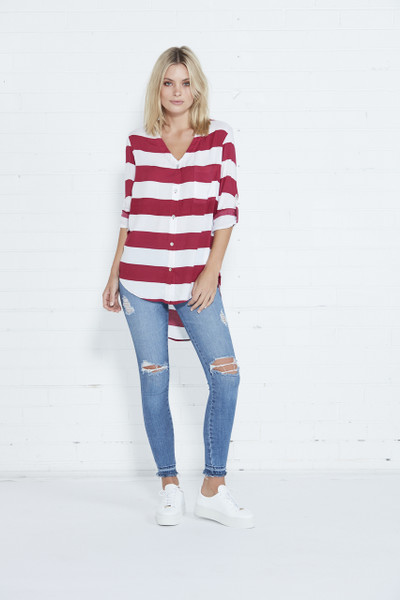 Empire Shirt - Berry & White Stripe