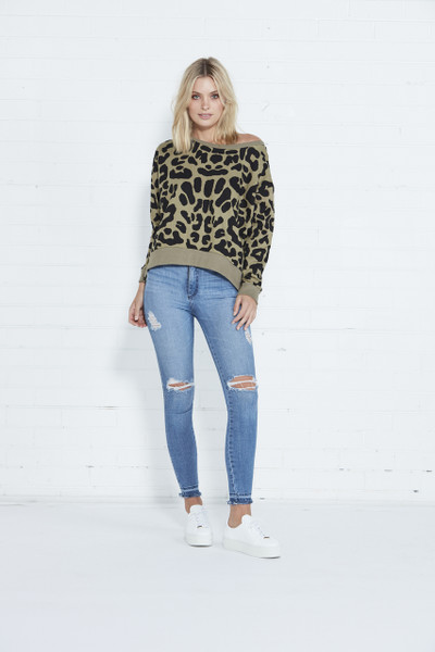 Kingston Sweater - Khaki Leopard