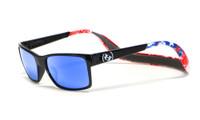 Hoven Eyewear MONIX in Black American Flag with Gloss Grey & Sky Blue Polarized