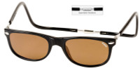 Clic Magnetic Sunglasses Ashbury-Wide in Black w/ Amber Lens