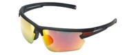 Montana Eyewear Designer Polarized Sunglasses SP305B in Matte-Black & Red Mirror Lens