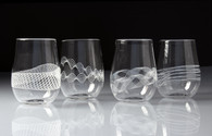 Multi Filigree Stemless Wine Glasses (Set of 4)