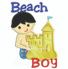 Beach Boy wearing shorts applique making a sand castle.