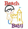 Beach baby boy making a sand castle applique outlines.