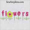 flowers word letters machine embroidery design stem leaves