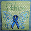 hope awareness ribbon butterfly coaster ith in the hoop machine embroidery design cancer survivor
