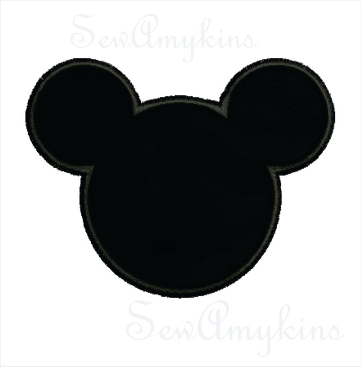 Mickey Mouse applique head machine embroidery design 5 ...
