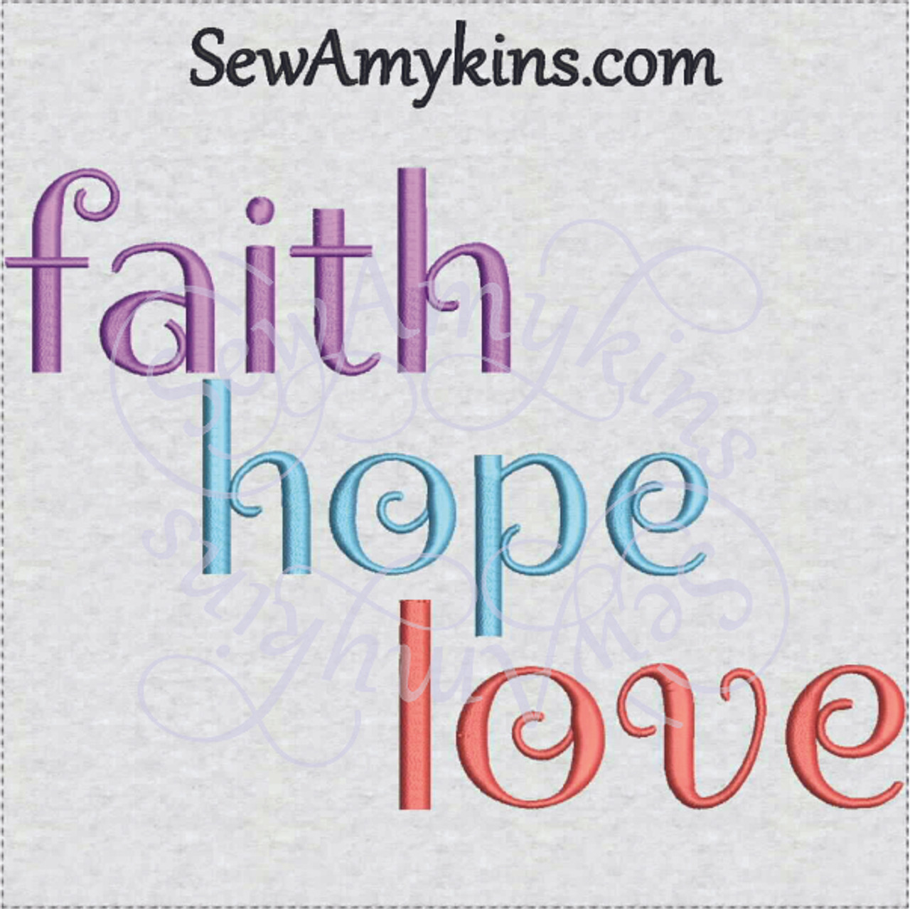 Faith hope love machine embroidery design words of