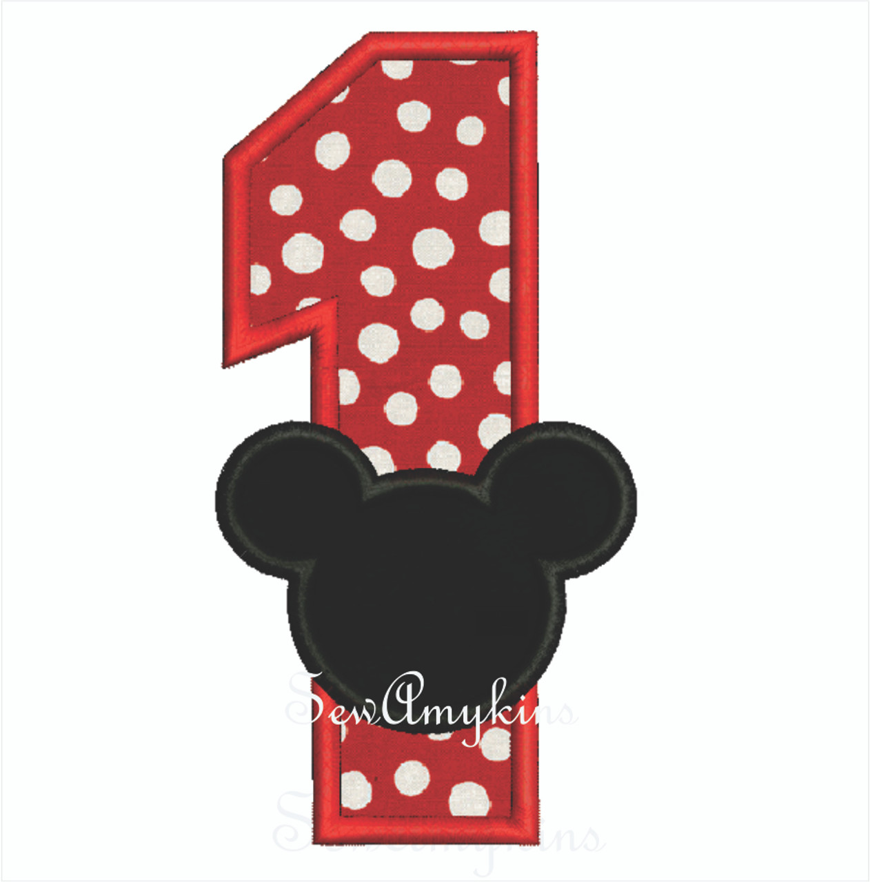 Mickey Mouse applique Number 1 - SewAmykins