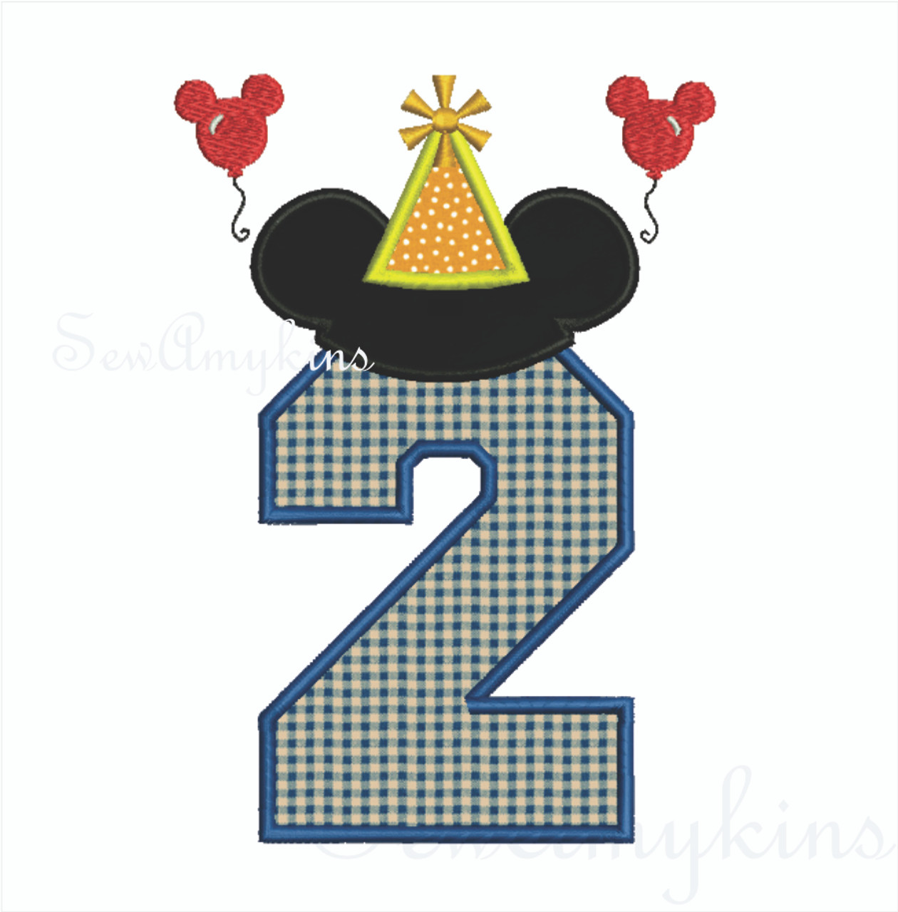 mickey mouse applique number 2 party hat  u0026 balloons