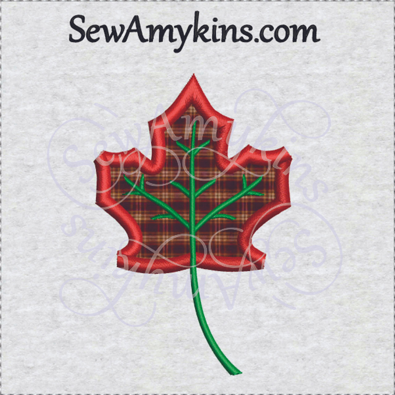 Maple leaf leaves applique machine embroidery digitized