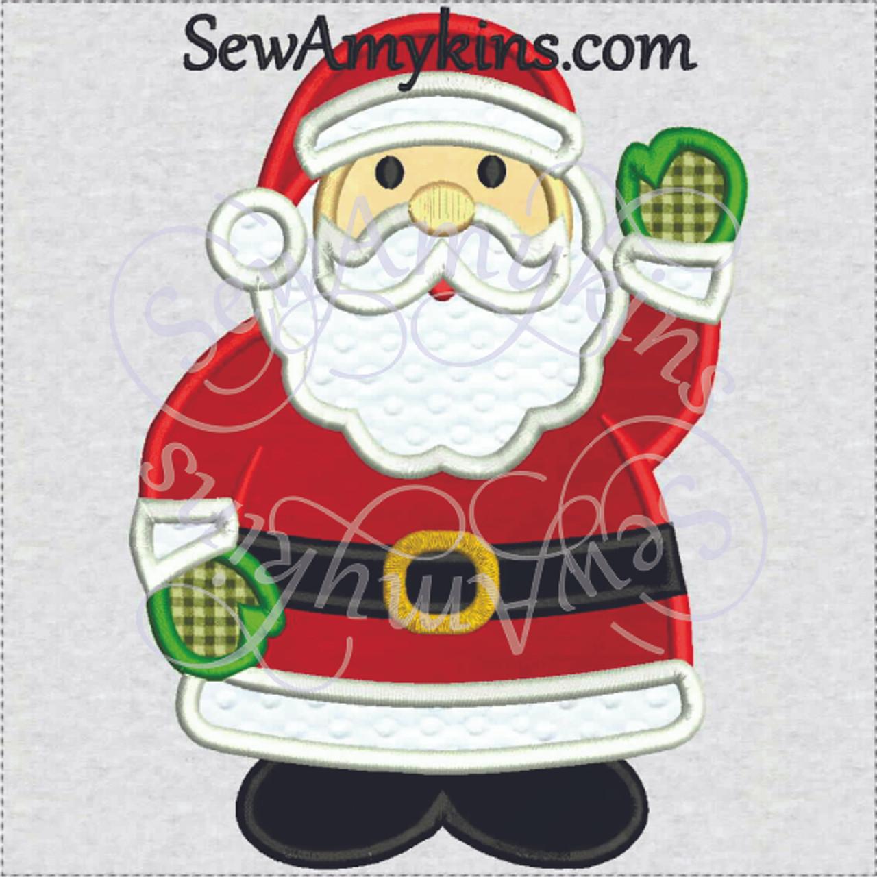 Santa claus applique christmas embroidery design sizes