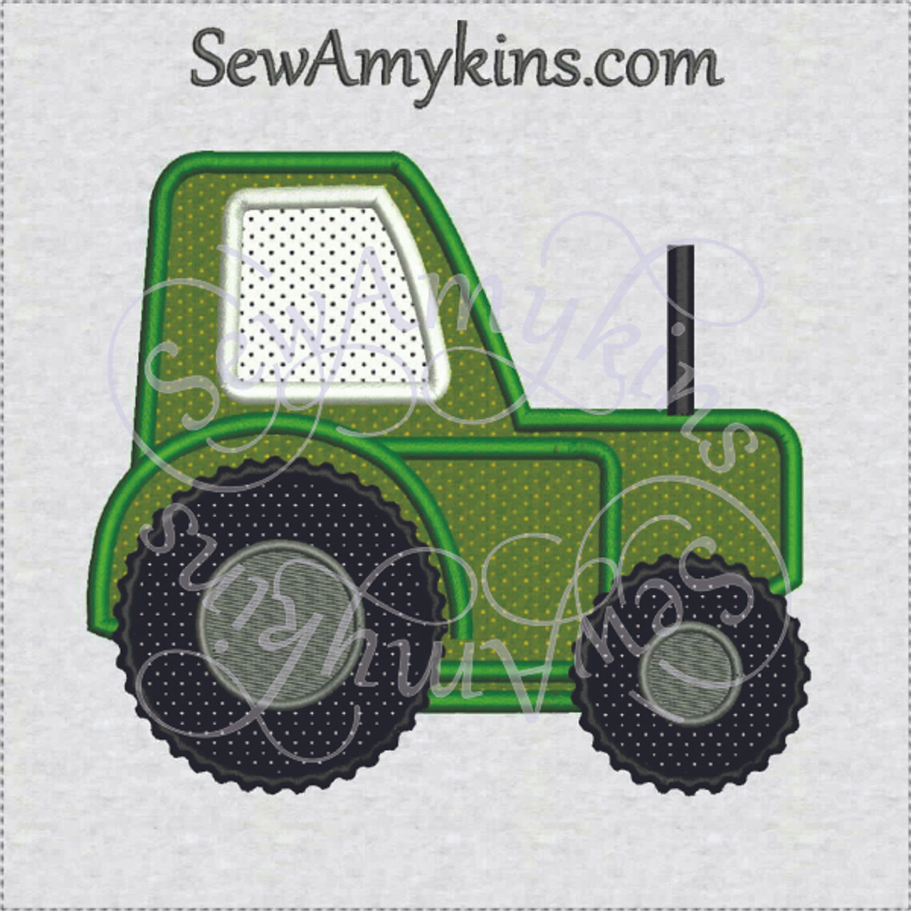 Farm tractor applique embroidery design sizes sewamykins