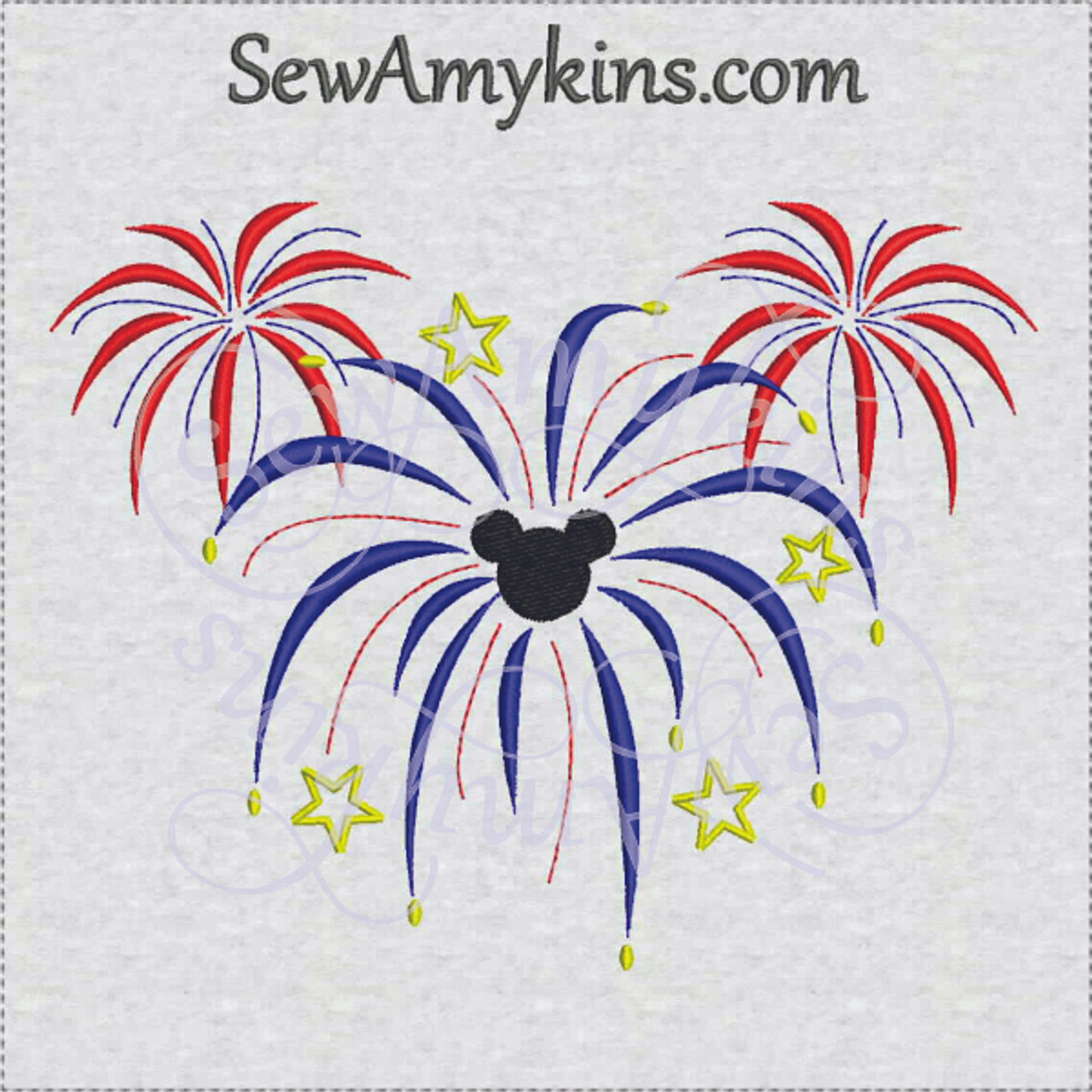 Mickey Mouse Fireworks Machine Embroidery Design 3 Sizes
