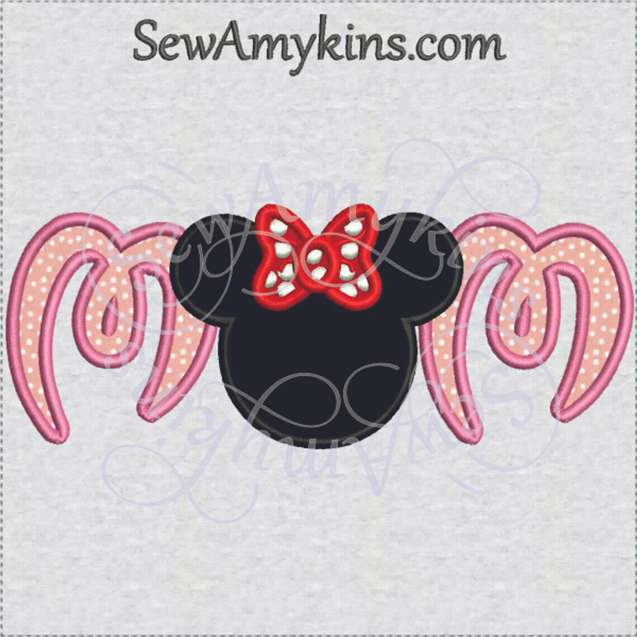 Minnie Mouse Mom Applique Embroidery Design Head Ears Bow