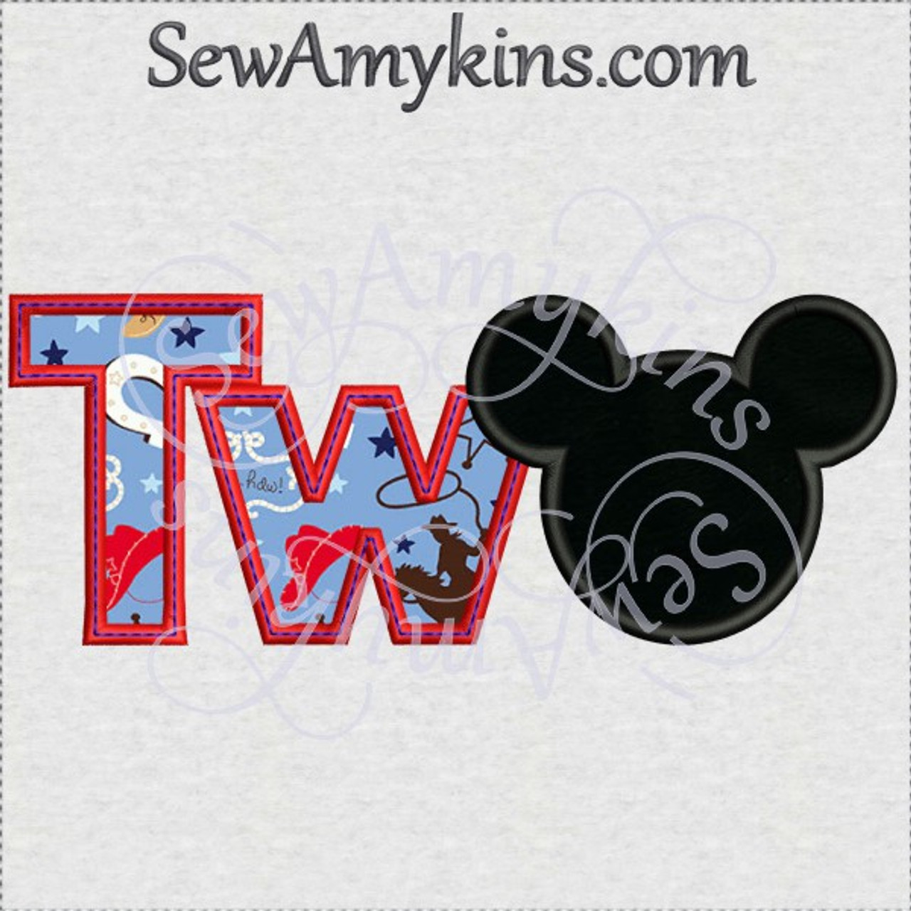 mickey mouse two letters tw head applique machine embroidery design 2nd birthday  2 sizes