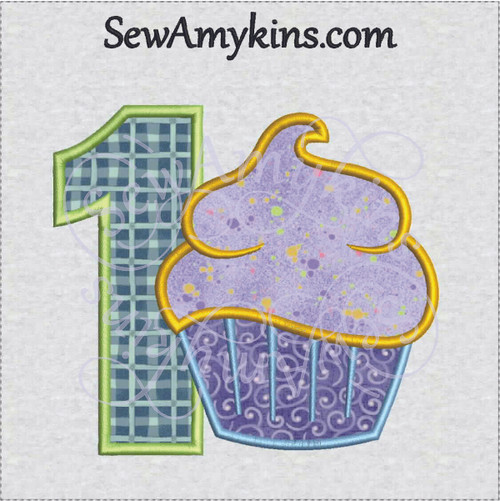 number one cupcake applique first birthday boy or girl 1 1st machine embroidery