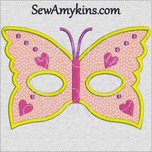 butterfly mask applique machine embroidery design halloween