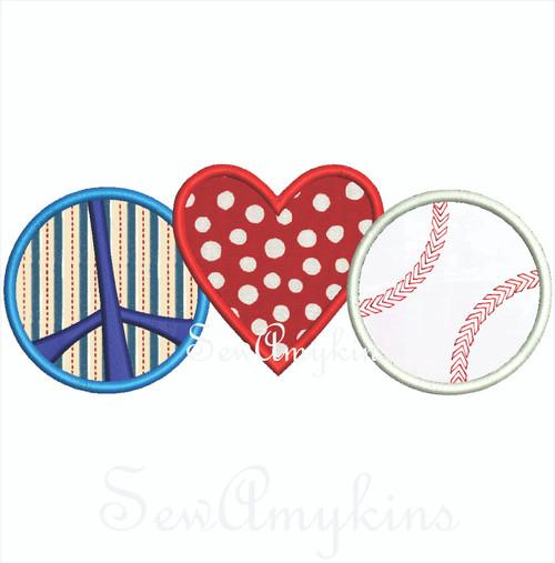 Peace Love Baseball 2 sizes