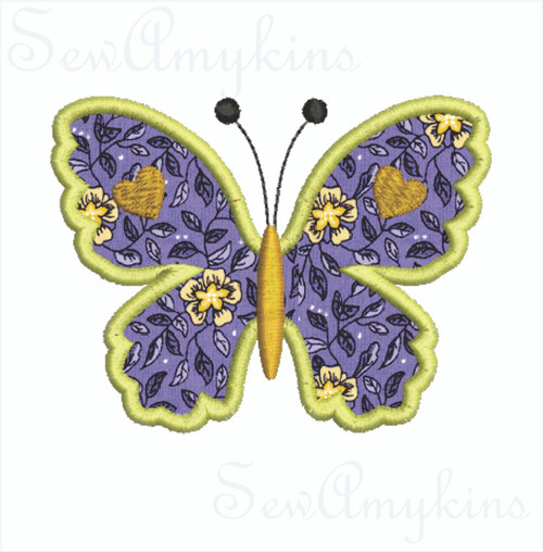 Butterfly applique heart accents