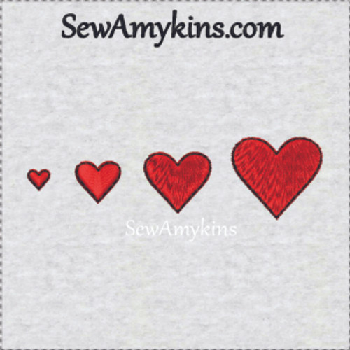 tiny satiny embroidery heart hearts with outline stitch