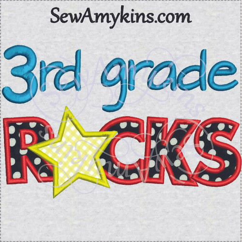 3rd grade rocks star applique embroidery sewamykins