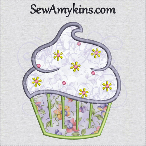 cupcake applique spring flowers machine embroidery design cup cake frosting sewamykins
