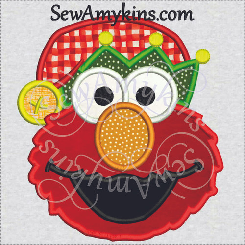 Elmo elf santa helper applique head embroidery design