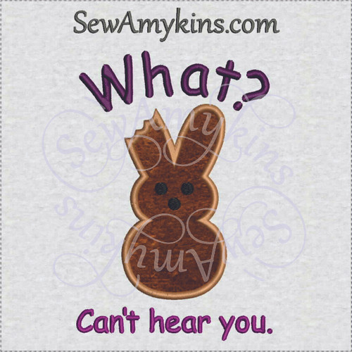 Easter bunny chocolate peeps ear bitten what applique embroidery