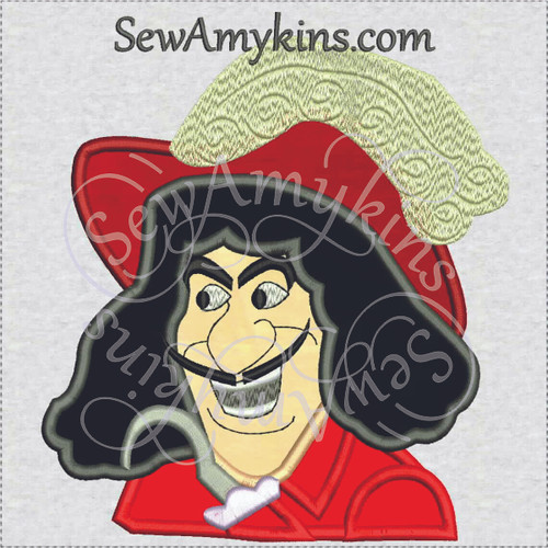 captain Hook pirate face applique embroidery design