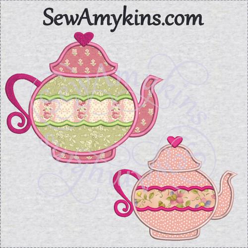 Tea pot rose scallop applique fill stitch machine