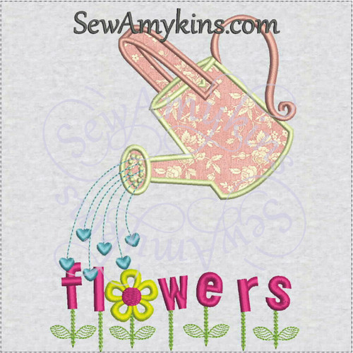 watering can applique flowers word machine embroidery design hearts shower love