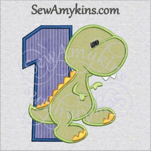 Baby dinosaur one first birthday applique machine