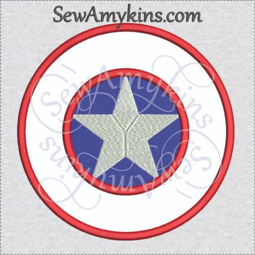 Captain America shield applique machine embroidery