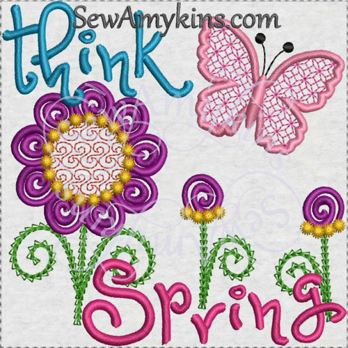 think spring machine embroidery design free
