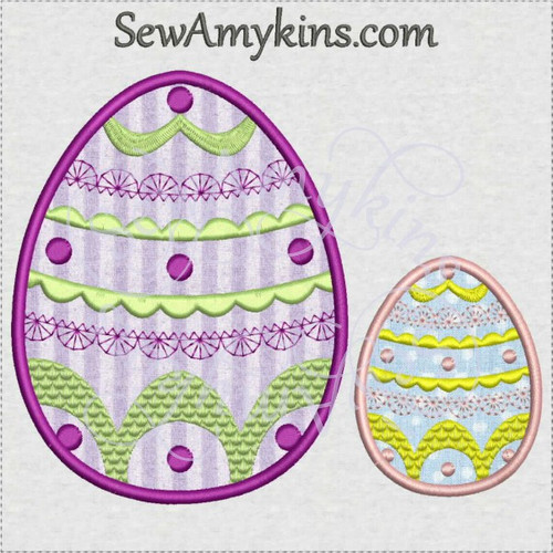 fancy applique Easter eggs dots lace machine embroidery design