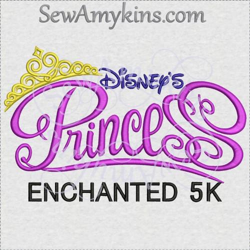 Disney princess marathon 5k machine embroidery design