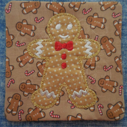 gingerbread boy applique ith in the hoop coaster mug rug machine embroidery design