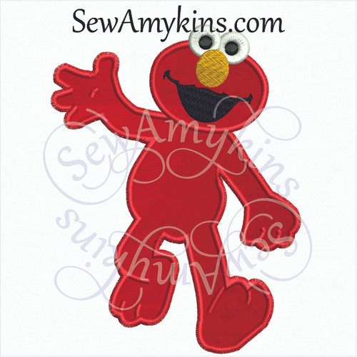 Elmo full body applique walking waving embroidery design