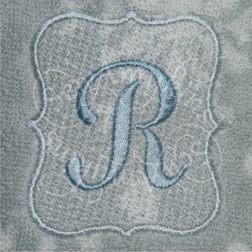 Oval frame border for monograms or letters towel nap tuck