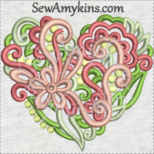 heart flowers swirls machine embroidery design bridal love valentine